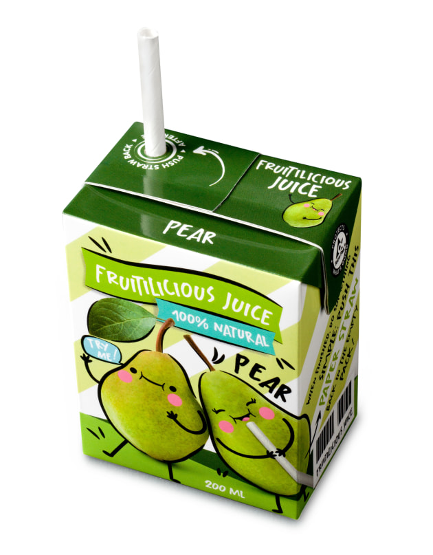 A Tetra Brik Aseptic 200ml carton with paper straw.