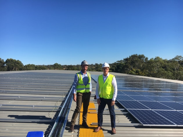 Pernod Ricard Winemakers' sustainable performance manager Paul Button and its sustainable development manager Stephen Cook on the roof of the Rowland Flat winery.