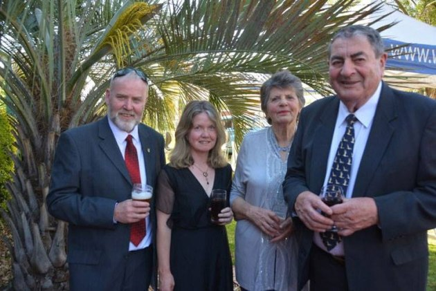 Paul Phelan (right) and wife June with Steve Hitchen (left) and his partner Sonya the Magnificent at an Australian Aviation Hall of Fame dinner at Charles Sturt University in Wagga Wagga in 2015. (John Egan)