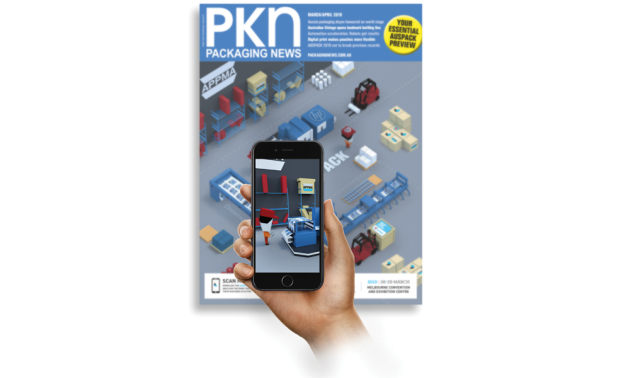 Downloading the AUSPACK2019 app and scanning the PKN AUSPACK Preview issue cover activates an AR animation powered by Dreemar.