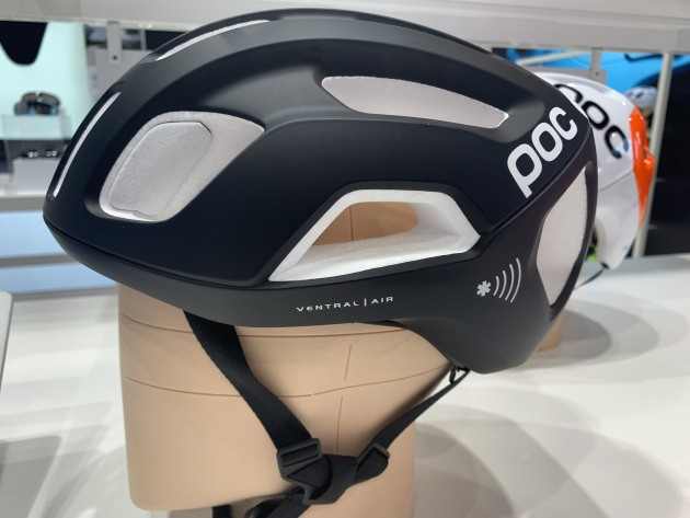 POC showcased a 'smart' helmet fitted with an NFC chip.