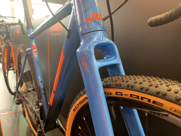An interesting braced fork on a KTM gravel bike at Eurobike 2019.