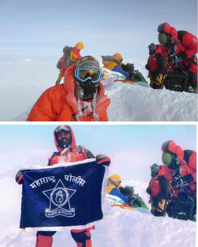 One of the Rathods' photoshopped images. At the top is the image photoshopped, with the shot below what was actually taken at the summit.