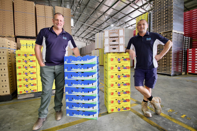 Open for business: OjiFS Mildura's Matt Harris and plant manager David Smith in the new plant.