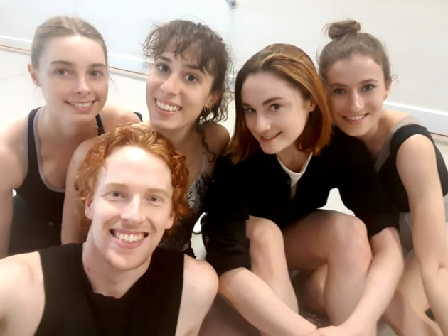Amelia with Australian Ballet artists (from left) Kelsey Stokes, Sean Kiley, Evie Ferris and Saranja Crowe.
