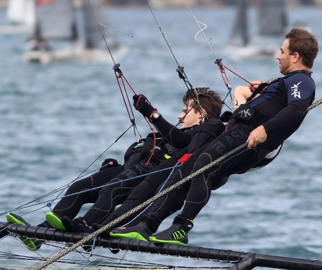 Andoo - pressure shows on the face of the winning skipper, Marcus Ashley-Jones. Photo Michael Chittenden.