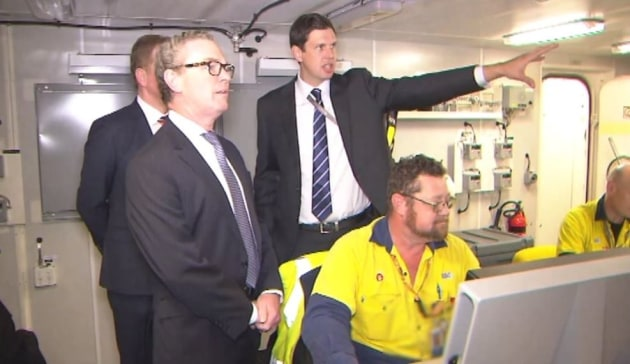Minister Pyne at the launch of HMAS Brisbane. Christopher Pyne via Twitter