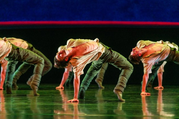Queensland Ballet dancers in 'Soldiers' Mass'. Centre is Pol Andres Thio. Photo: Darren Thomas.