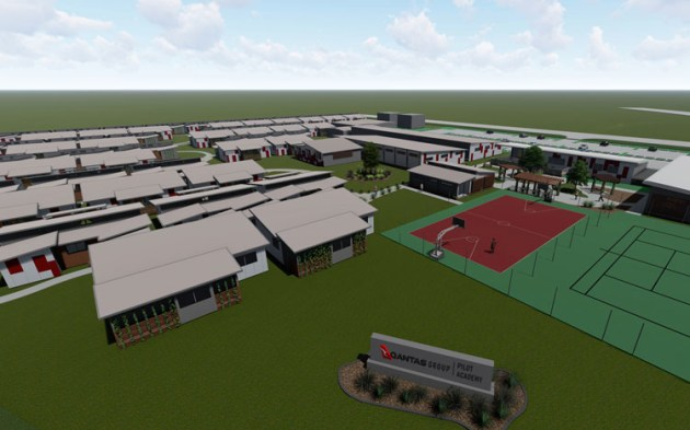 An impression of the Qantas flight training academy to go into Wellcamp Airport at Toowoomba. (Qantas)