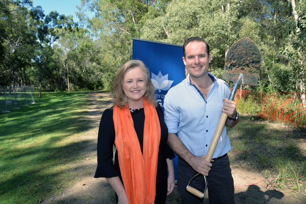 Deputy Mayor Jon Raven and City Lifestyle Chair Laurie Koranski at the sod turning for the Logan Village to Yarrabilba Rail Trail.