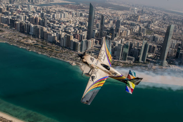 Matt Hall was still tuning in his Edge 540 at Abu Dhabi in 2018, but a faster plane this year has him confident of a top-four finish. (Joerg Mitter / Red Bull Content Pool)