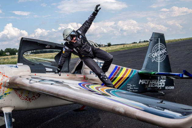 Matt Hall leaps from his Edge 540 after winning the Red Bull Air Race round at Lake Balaton, Hungary, in 2019. (Joerg Mitter / Red Bull Content Pool)