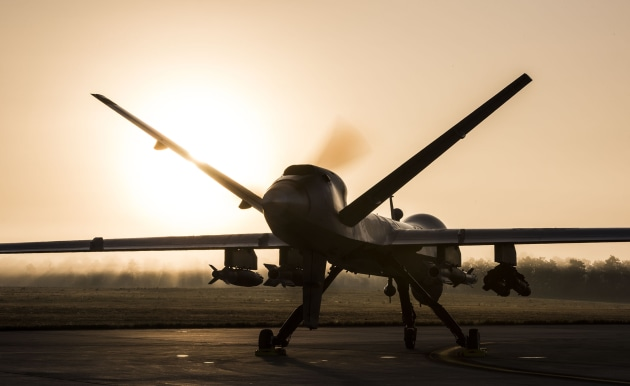 A US MQ-9 Reaper sits on the flight line as remotely piloted aircraft crews wait for the fog to clear. USAF