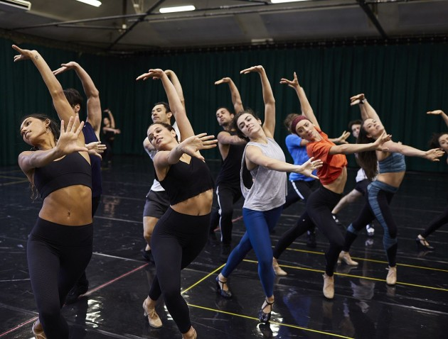 The singer-dancer cast in rehearsal for 'West Side Story'.