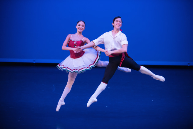 Brittany Jade Duwner and Rench Soriana in Balanchine's 'Tarantella'. Photo: Stephen A'Court