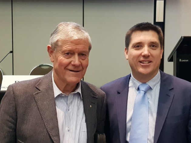 Legendary AFL coach David Parkin (left) and Mark Easton, FPLMA president.