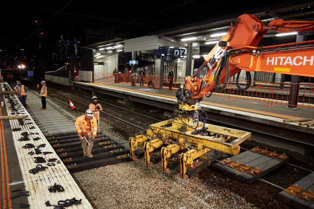 The new Duratrack sleepers being installed at Richmond station. (Source: Sustainability Victoria)
