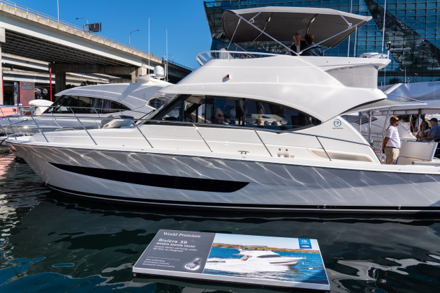 The new Riviera 39 Sports Motor Yacht at SIBS 2018. (Photo: Mick Fletoridis).