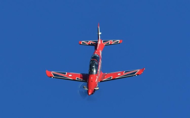 The Roulettes did a four-ship display in the PC-21. It will be some time yet before they work up a full routine using the new Pilatus trainer. (Steve Hitchen)