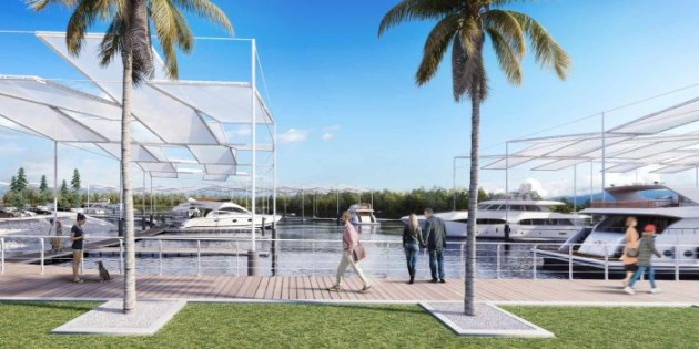 Marina expansion artist's impression with covered berths shown.