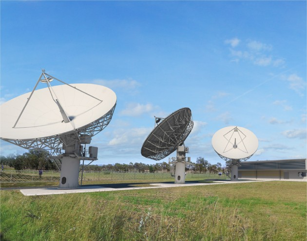 A concept image of a satellite ground station planned for Kapooka, NSW.