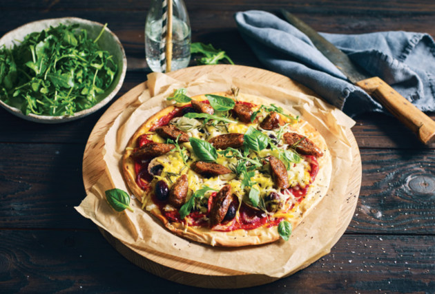 Pizza with plant-based sausage from the Alternative Meat Co.