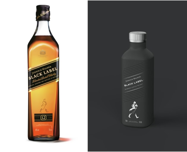 Before and after: Johnnie Walker Black Label will be the first 100 per cent plastic free, paper-based spirits bottle.