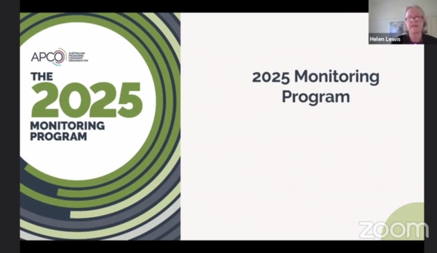 The 2025 Monitoring Program was presented at the AIP Australasian Packaging Conference on 27 October 2020.