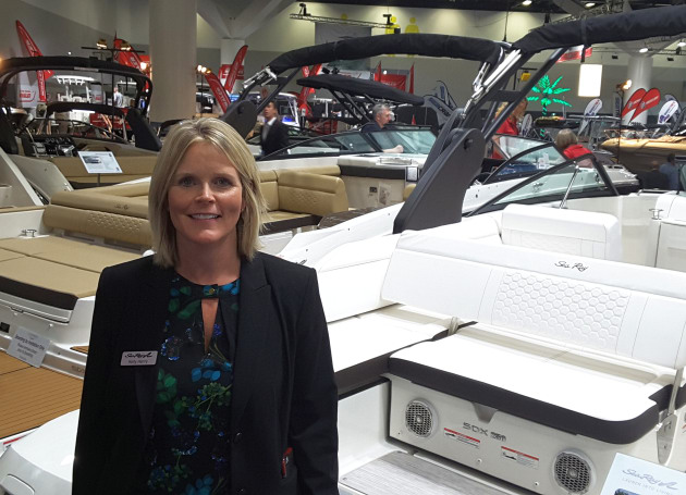 Kelly Henry, Sea Ray international sales manager, with the new SDX 250 model.