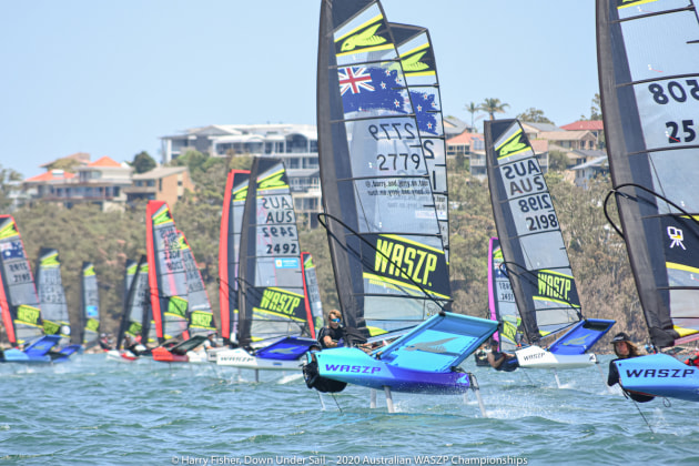 The fleet starting at the 2020 Australian WASZP Championships.