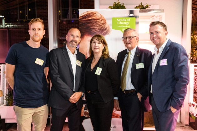 L to R: Roger Elfenbein, Zentient Culture; Peter Crane, Mars Food Australia R&D director; Dr Christine Pitt, CEO Food Futures Company; Food Innovation Australia Ltd chair Peter Schutz; and Mars Food Australia general manager Hamish Thomson.