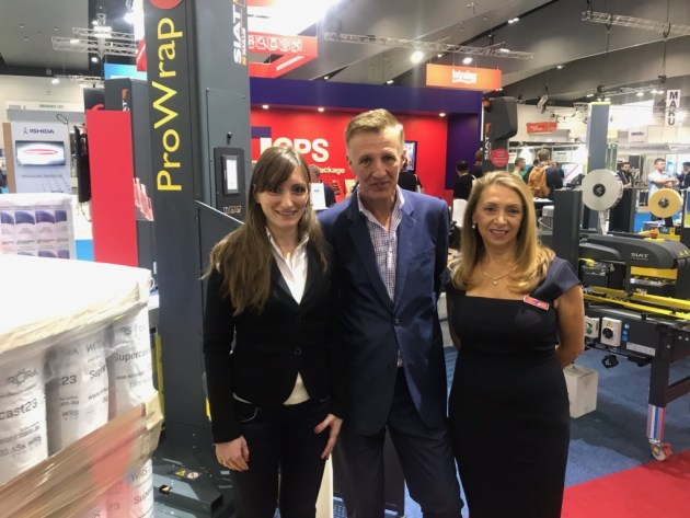 Industry 4.0 comes to wrapping: With the new internet enabled Siat ProWrap are (l-r) Carol Pignatelli, global product manager, Siat; Wayne Robinson, PKN; and Rosa Stroszynski, CEO of distributor CPS.