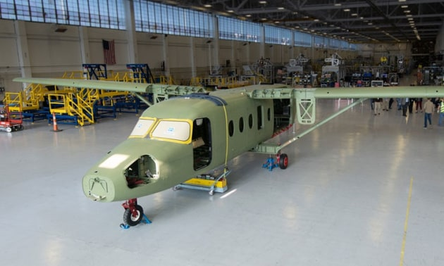 The first SkyCourier prototype during manufacture in Kansas. (Textron Aviation)
