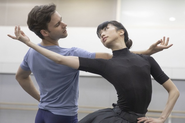 Campbell with Akane Takada, rehearsing Don Quixote. Photo: Andrej Uspenski.