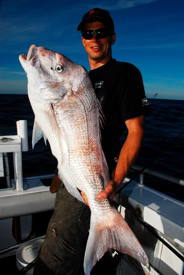 Matt Beckman caught this ripper 10kg red just before sunset. Low light periods definitely coincide with snapper feeding activity.