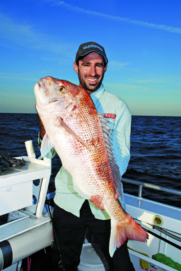 Jamie with a stud snapper caught while fishing 30m water in SA's Spencer Gulf.