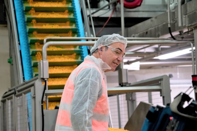 South Australian Premier Steven Marshall examing the upgrade at PepsiCo's Regency Park Plant.