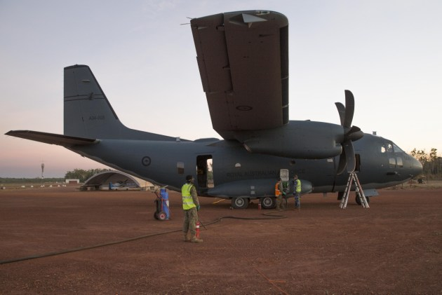 The 9th Force Support Battalion refuel a RAAF C-27J Spartan aircraft at Batchelor Airfield during Exercise Pitch Black 2018.