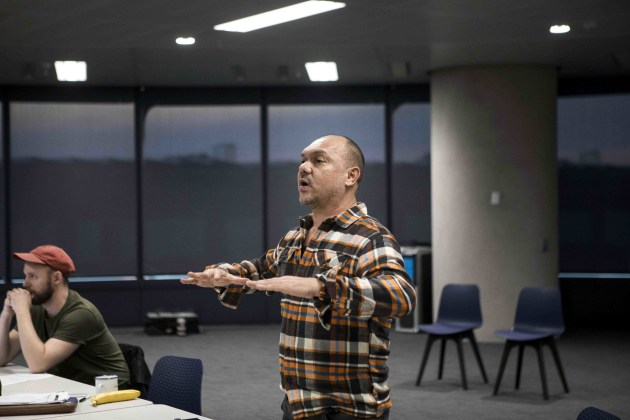 Stephen Page rehearsing at the company's Sydney studios.