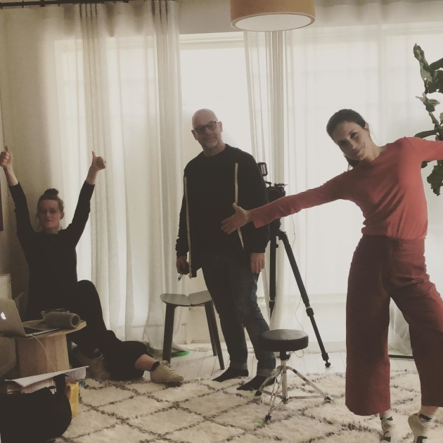 Stephanie Lake rehearsing with Missy Higgins and cinematographer Warwick Field.