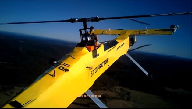 Unmanned Aerial Systems' StopRotor aircraft demonstrating its fixed wing and rotary abilities. Credit: Unmanned Aerial Systems via YouTube