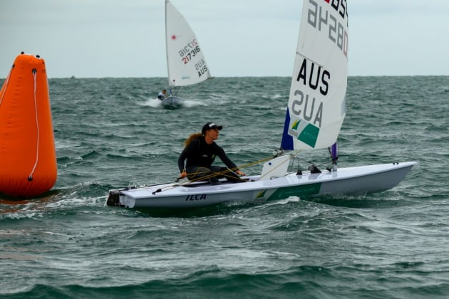Australia's leading Radial sailor, Mara Stransky, had a day to forget at the Australian Laser Championships. Photo Jon West Photography.