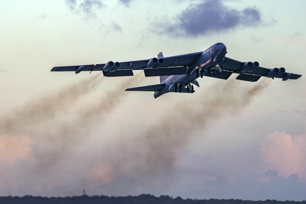 An Air Force B-52H Stratofortress takes off from Andersen Air Force Base in Guam. USAF