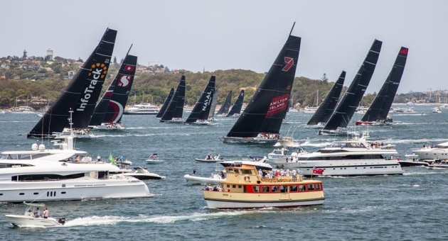 The front runners dash to be the first to exit Sydney Harbour and make a jump on the rest of the fleet. CREDIT - Rolex/Carlo Borlenghi.