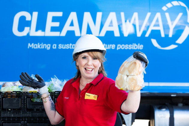 Tanya Travis, Coles regional manager at Cleanaway's Willawong recycling transfer station with new food waste recycling technology.