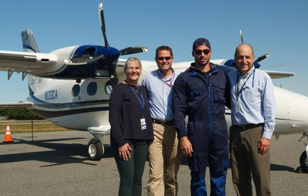The first P2012 to enter service was delivered to Cape Air in Massechusetts. L-R Cape Air president Linda Markham, Senior VP Jim Goddard, ferry pilot Giovanni Pascale and Cape Air CEO Dan Wolf. (Tecnam)