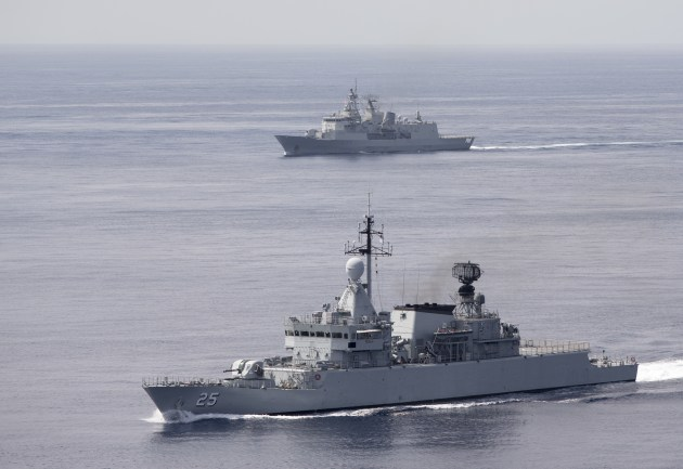 Malaysian warship KD Kasturi and HMNZS Te Kaha in formation. Credit: Defence