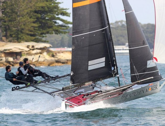 The Kitchen Maker-Caesarstone team came back to better form with a seventh place in Race 2 of the NSW 18ft Skiff Championship. Photo 18 Footers League.
