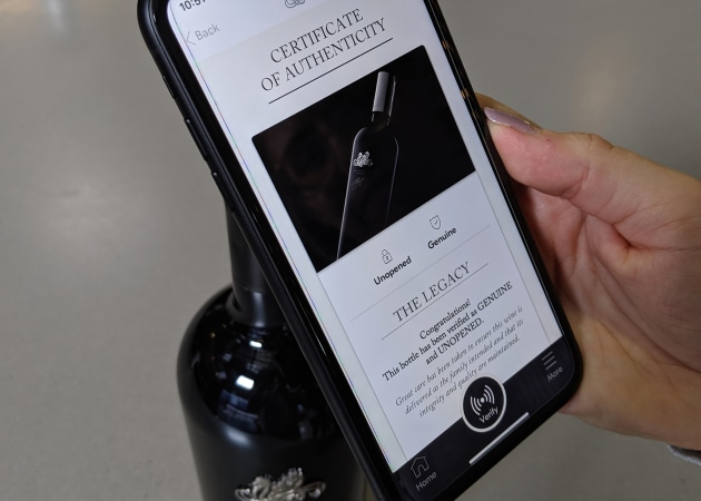 Purchasers of The Legacy 2014 (Taylors new super-premium Cabernet blend) will be able to access the 'verify' feature to ensure the wine is authentic and unopened via a unique NFC chip installed on the screw cap to communicate with a smartphone.