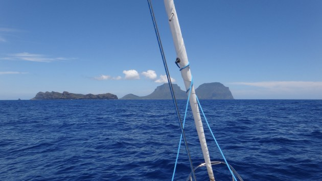 The waves got flatter but the hills got higher: Mt Lidgbird and Mt Gower are an imposing sight from at sea.